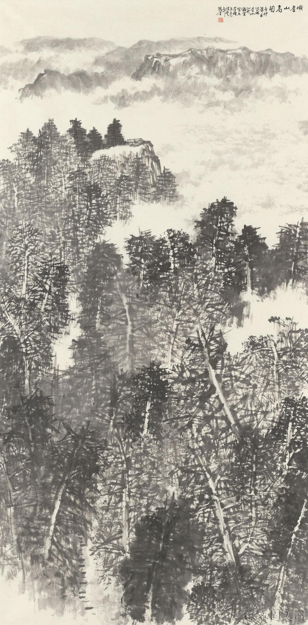 程峰国画山水《峨眉山高图》图片