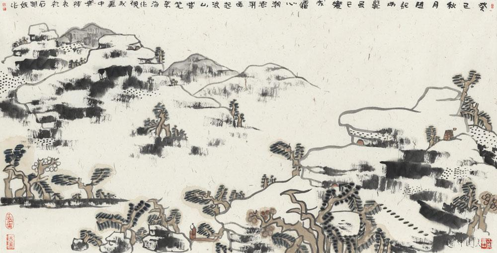 石头娃山水画《癸巳秋月随记》