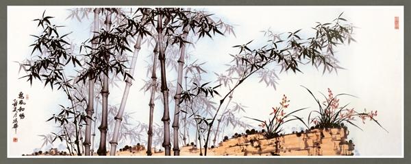 竹子诗词手绘图片
