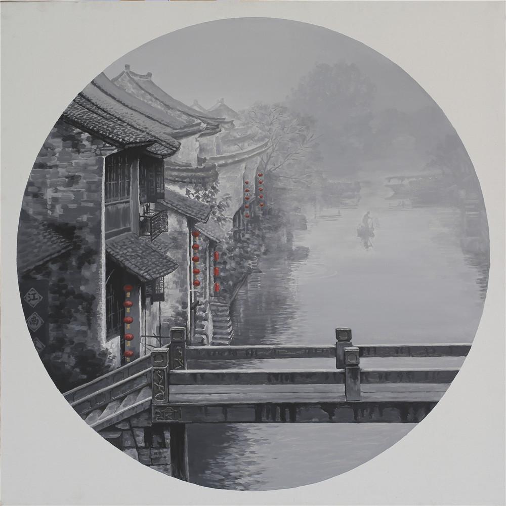 以黑,白,灰为主的冷色调记录了对江南的乡愁之感,还原出江南水乡