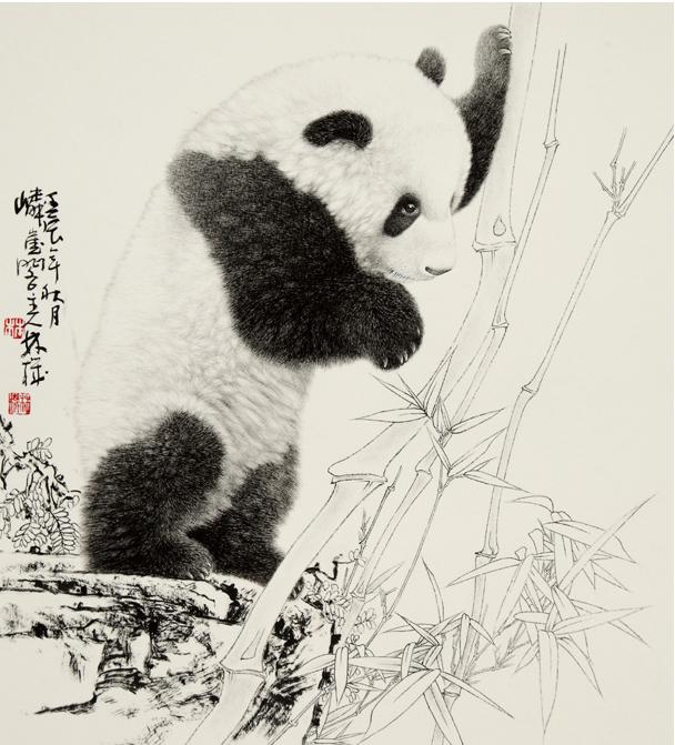 他画的写意大熊猫,松竹,花卉之类,尽得笔笔写出,以中侧锋运腕转换,颇