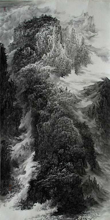 形成了自己的结构特征,他也从西南山水的山石结构和云水结构中,提炼出