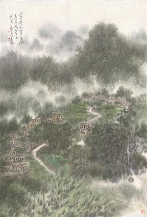 李翔 《山雨洗过翠欲流》 69cmx47cm图片