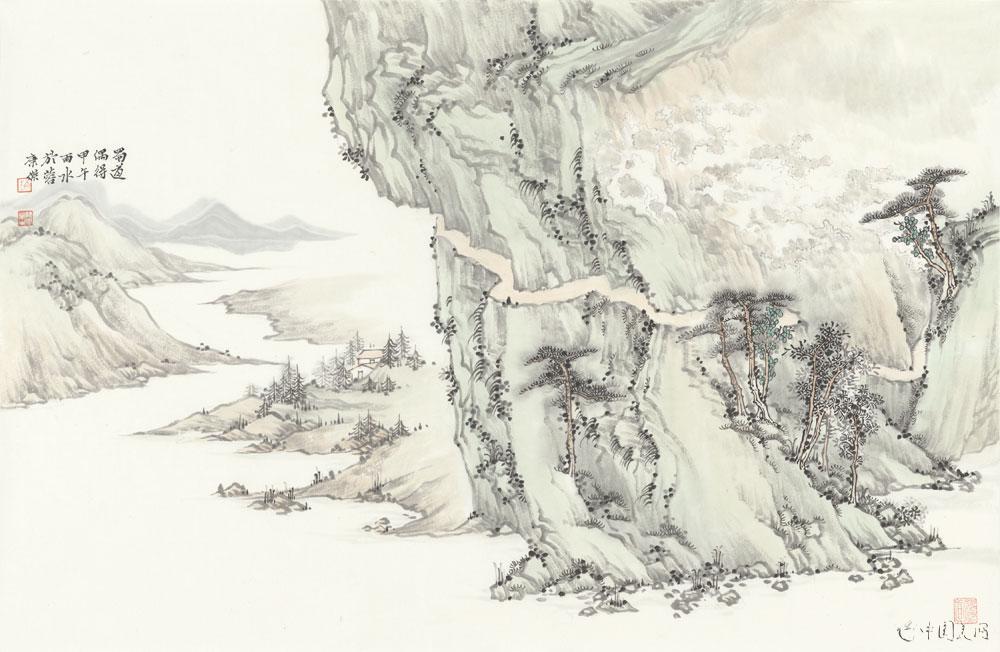 中国山水白描工笔画
