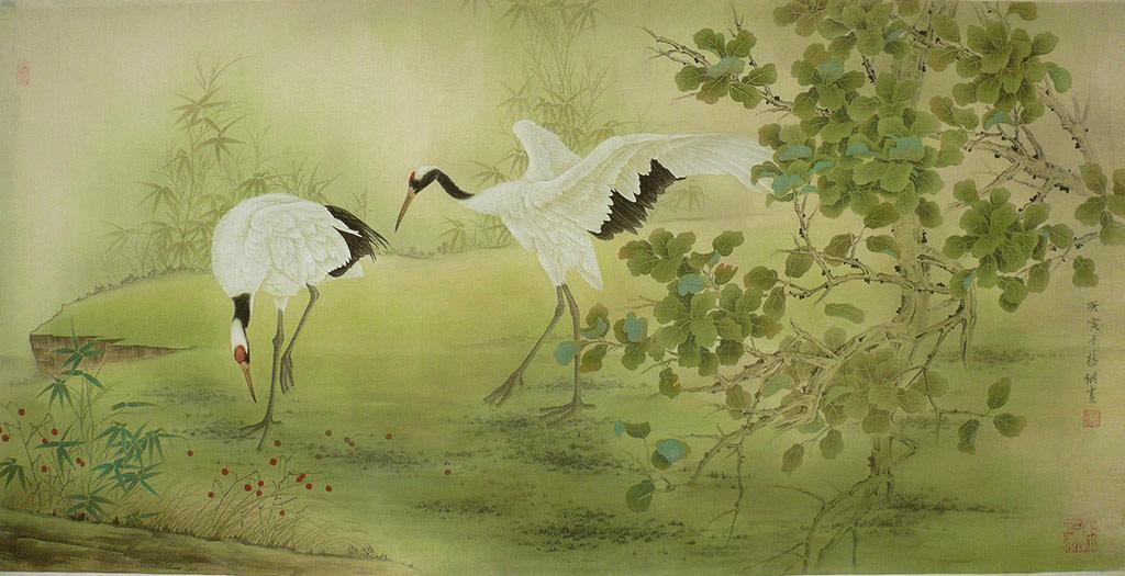 仙鹤比美儿童油画棒画